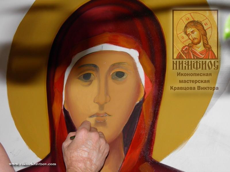Написание лика для образа Покров Пресвятой Богородицы.