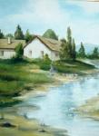 Сельский пейзаж маслом Виктора Кравцова